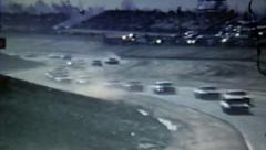 Old Vintage 1970's NASCAR Racing Riverside International Raceway S Turns Crash   Stock Footage
