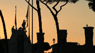 Stock Video Footage of Sunset Roma, silhouette columns & statues 3