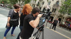 Barcelona TV camera team at Casa Mila Stock Footage