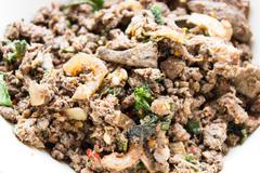 Laab spicy pork salad Stock Photos