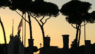 Stock Video Footage of Sunset Roma, silhouette columns & statues 1