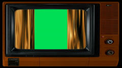 Green screen with curtains on television Stock Footage