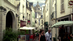 Pedestrian street (4) - Loches France Stock Footage