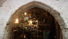 Traditional metalcraft workshop in the Rhodes old town. Stock Footage