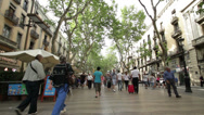 Stock Video Footage of Barcelona Les Ramblas