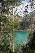 Volcanic colorful lake Stock Photos