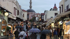 Mosque in the Rhodes old town and Socrates street. Stock Footage