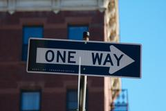 One Way Sign NYC Stock Photos