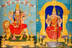 Traditional hindu gods painted images Stock Photos