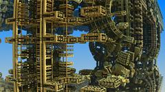 Abstract three-dimensional fractal like a strange futuristic construction - stock illustration