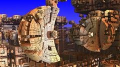 Complicated three-dimensional fractal forming a strange futuristic alien factory Stock Illustration