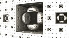 Fractal geometric pattern with hemispheres arranged in a cubic recess Stock Illustration