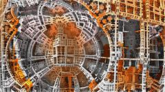 Abstract complex three-dimensional fractal like a strange alien construction - stock illustration