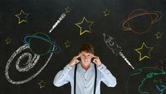 businessman thinking with chalk universe planet solar system on blackboard im - stock photo