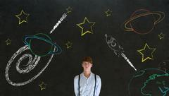 businessman with chalk universe planet solar system on blackboard imagining s - stock photo