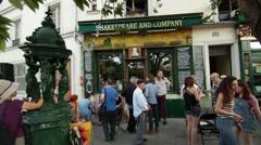 Paris Latin Quarter #3, Famous Bookstore - stock footage
