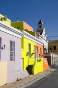 street in bo-kaap, cape town - stock photo