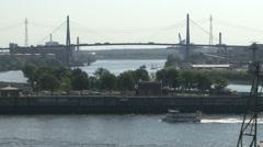 Panoramic View of Hamburg with Koehlbrand bridge #2 Stock Footage