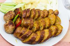 Thai pork sausage Stock Photos