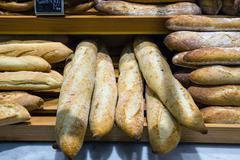 Bread in a bakery or baker's shop Stock Photos