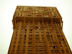 retro looking torre velasca brutalist architecture milan - stock photo
