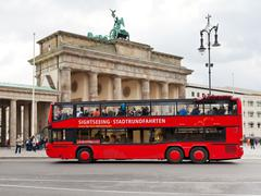 Red tourist double decker bus in berlin Stock Photos