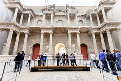 people in market gate hall of pergamon museum - stock photo