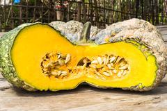 Fresh sliced pumpkins, thai pumpkin Stock Photos