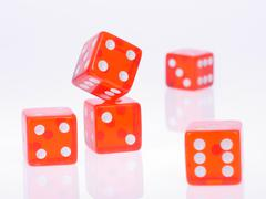 Five separate red playing dices Stock Photos