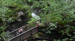 Two hikers on a bridge visit a small waterfall (Wildgerlostal, Austria) Stock Footage