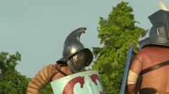Gladiator game Thraex Murmillo 07 Stock Footage