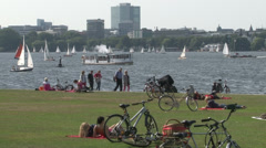 Hamburg - Summer in the City at River Alster Stock Footage