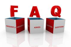 3d box of faq - frequently asked questions - stock illustration