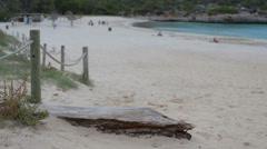 Rope handrail at Samarador beach Majorca Stock Footage
