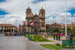 Army parade plaza de armas  cuzco peru Stock Photos