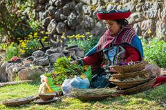 Woman with nural dyes peruvian andes  cuzco peru Stock Photos