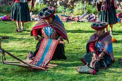 women weaving peruvian andes  cuzco peru - stock photo