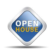 Open house icon or sign Stock Illustration