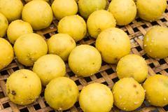 salted lemon before make preserved lemons. - stock photo