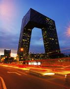 cctv headquarter at night,beijing,china - stock photo