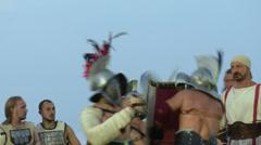 Gladiator munus Hoplomachus Thraex 08 Stock Footage