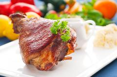 original german bbq pork  knuckle - stock photo