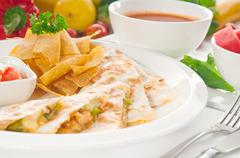 original mexican quesadilla de pollo - stock photo