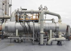 tank storage with pipe line - stock photo