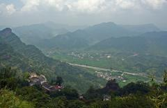 chinese contryside landscape viewed from qiyun mountain - stock photo