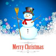 Snowman in Christmas Snowflakes Background - stock illustration
