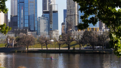 rower on yarra river - stock footage