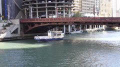 Water Taxi on Chicago River Stock Footage