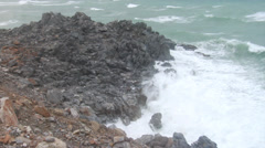 Storm waves crashing on rocks - stock footage