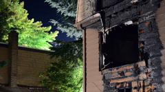 Apartment Unit Fire Damage Stock Footage